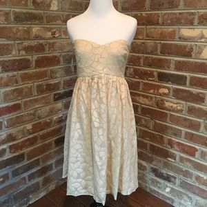 Tibi Strapless Full Cream Colored Dress